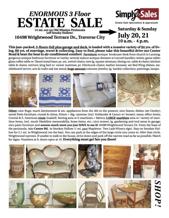 Old Mission Peninsula Estate Sale Flyer