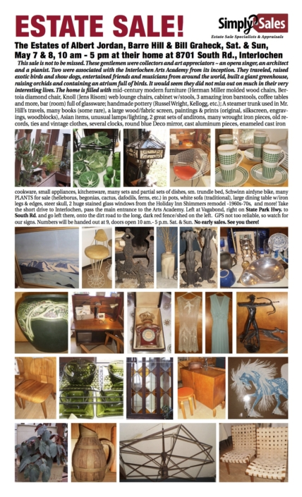 Morse Interlochen Estate Sale Flyer