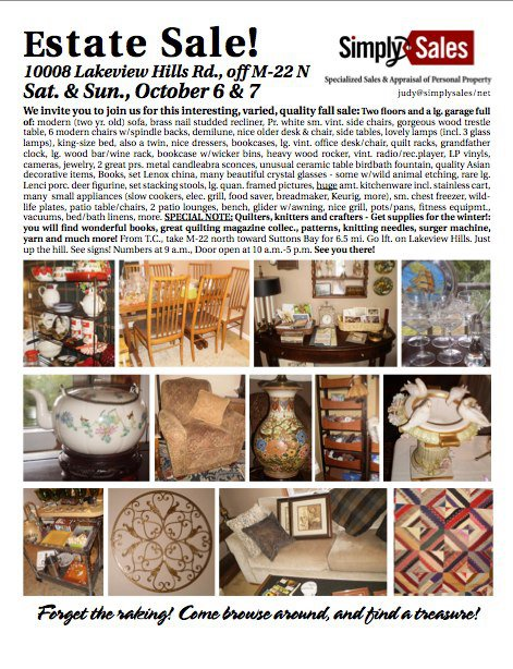 lakeview hills estate sale flyer