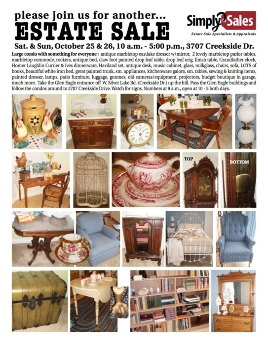 Creekside Drive, Traverse City Estate Sale Flyer